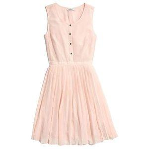 Madewell Pink Silk Pleated Shirt Dress Style 06159